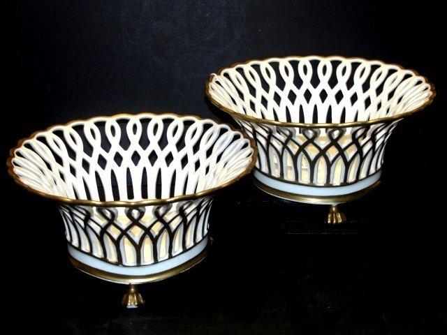 Dresden Porcelain Reticulated Corbeilles / Basket