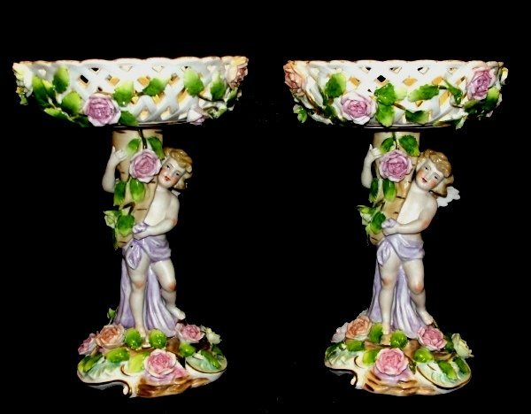 Meissen Style Compotes With Winged Cherubs