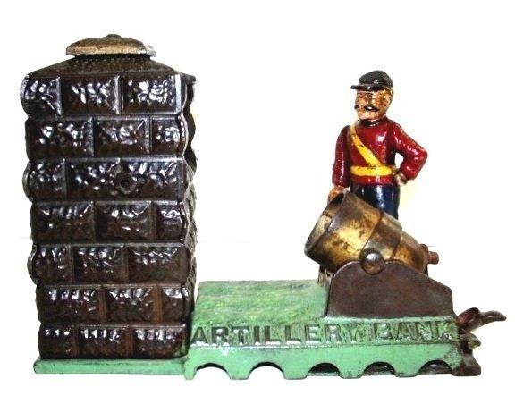 J&E Stevens Cast Iron Mechanically Artillery Bank