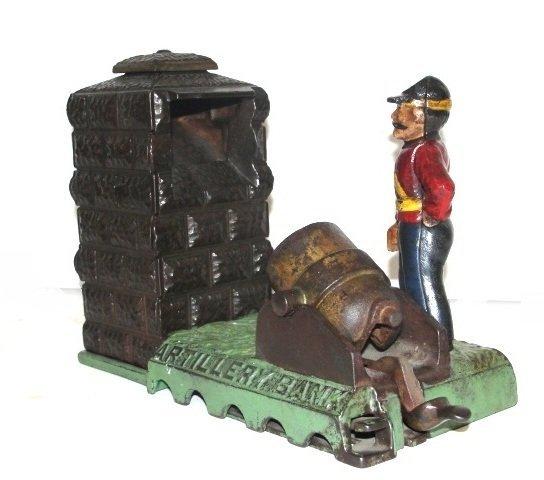 J&E Stevens Cast Iron Mechanically Artillery Bank - 2