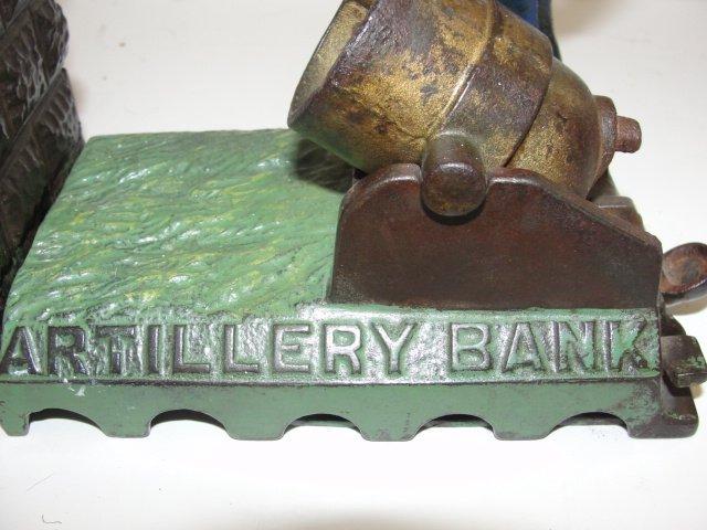 J&E Stevens Cast Iron Mechanically Artillery Bank - 4