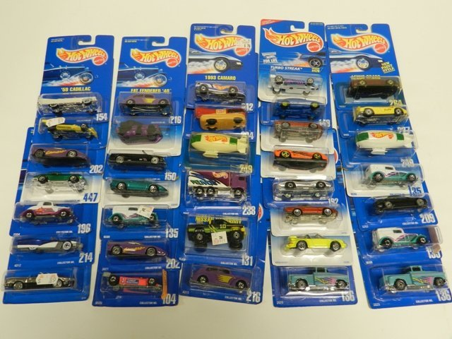 35 Hot Wheels Collector Number Blue Cards