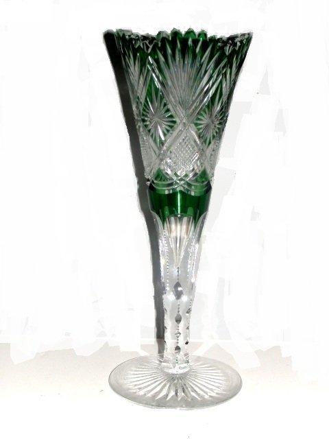 Brilliant Cut Green To Clear Trumpet Vase