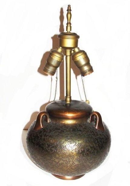 Art Deco Bronze Clad Overlay Table Lamp
