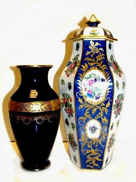 Limoges Cobalt Blue Vase Staff Lidded Jar