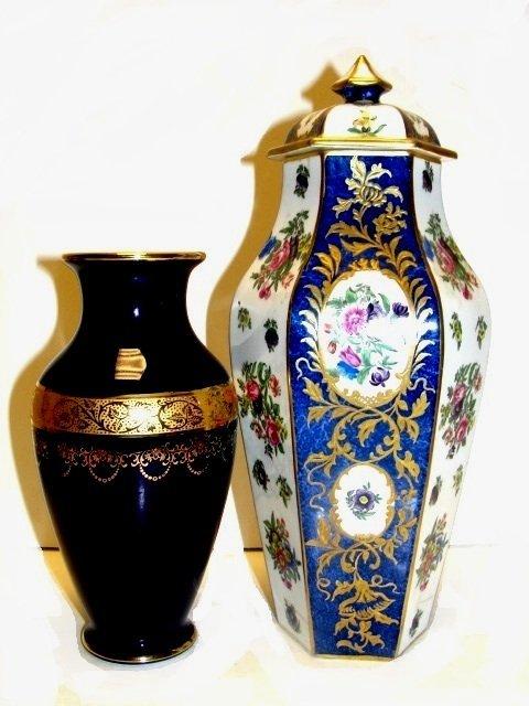 Limoges Cobalt Blue Vase - Staff Lidded Jar