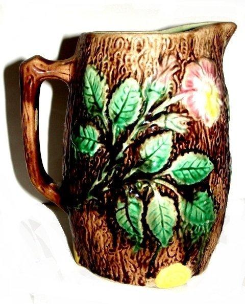 Early Majolica Wild Rose Glazed Milk Pitcher