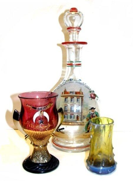 Art Glass Vase, Masonic  Glass, Decanter