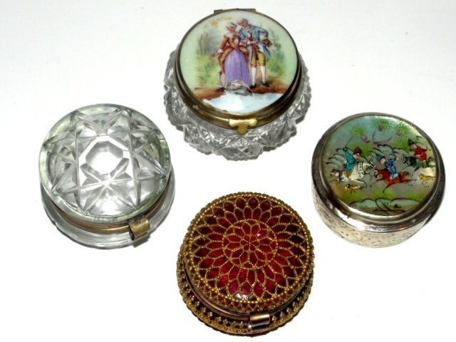 Collection Of Four Ladies Pill Dresser Boxes