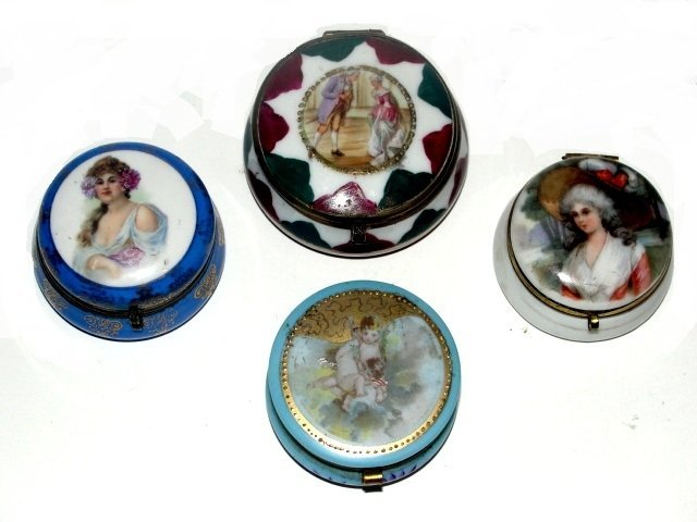 Four French Hand Painted Pill Dresser Boxes