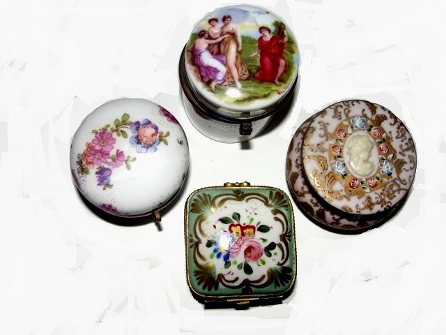 Collection Of Hand Painted Pill Dresser Boxes
