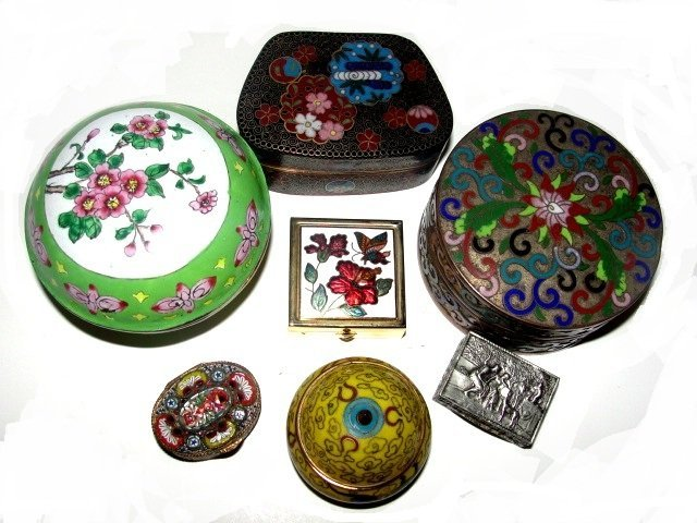Collection Of Seven Ladies Pill Dresser Boxes