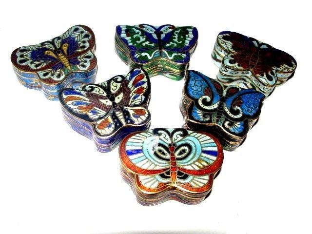 Collection Cloisonné Butterfly Dresser Boxes