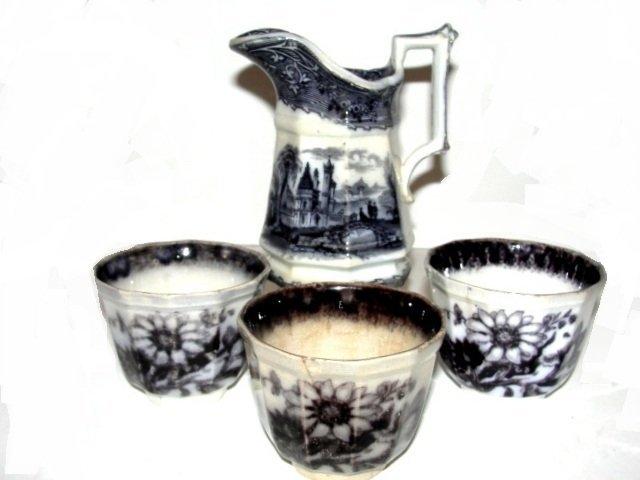 Black Transferware Creamer Handleless Cups