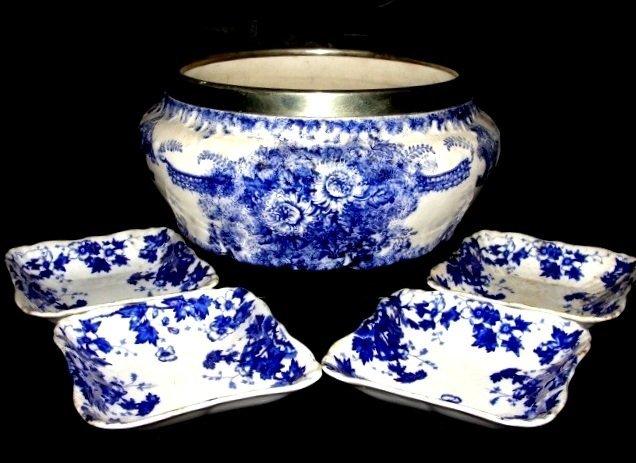 English Victorian Salad Bowl & Sauce Bowls