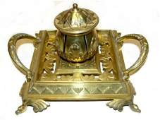 Victorian Polished Bronze/Brass Single Inkwell