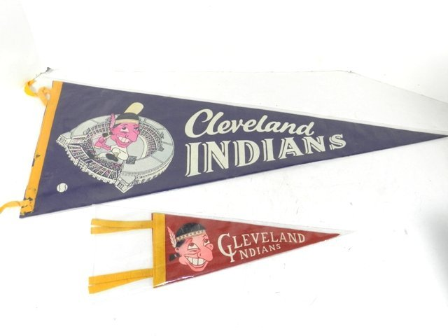 2 1950's Era Cleveland Indians Pennants