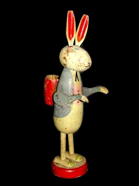 Early Painted Folk Art Rabbit With Basket