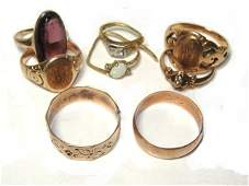 Collection Of 8 10   14K Various Gold Rings