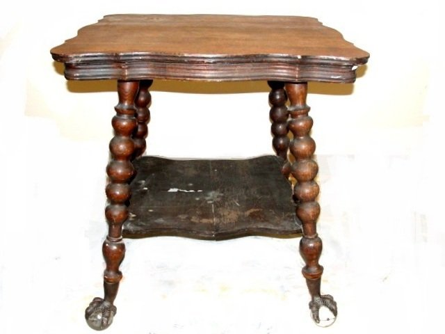 Oak Large Glass Ball & Claw Foot Lamp Table