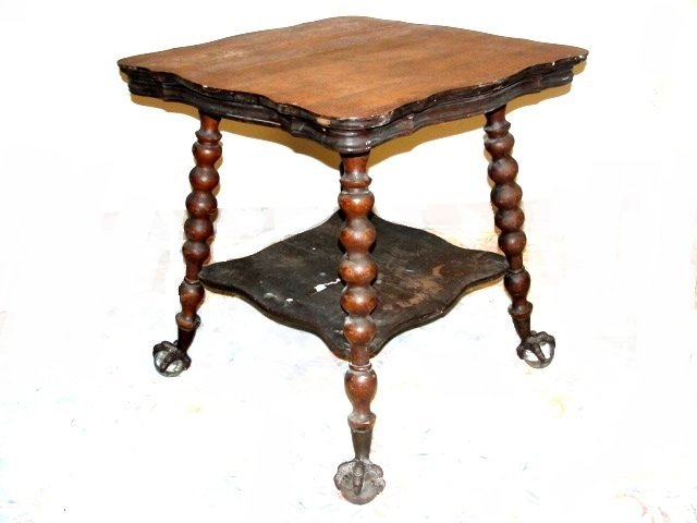 Oak Large Glass Ball & Claw Foot Lamp Table - 2