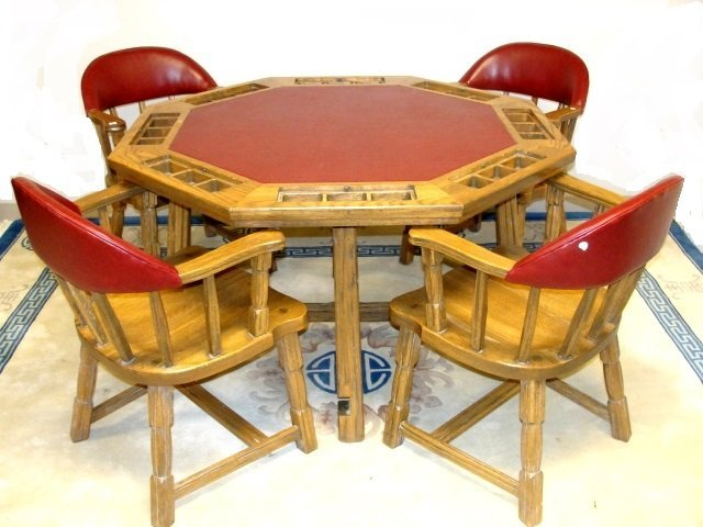 Ranch Oak Card Table Four Chairs