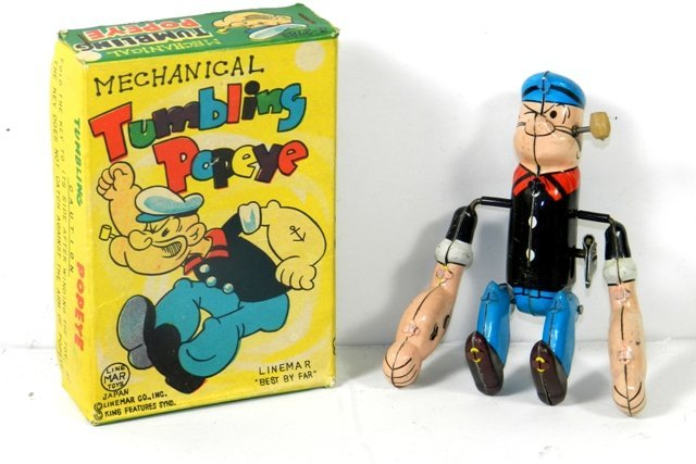 LINEMAR MECHANICAL TUMBLING POPEYE W/BOX