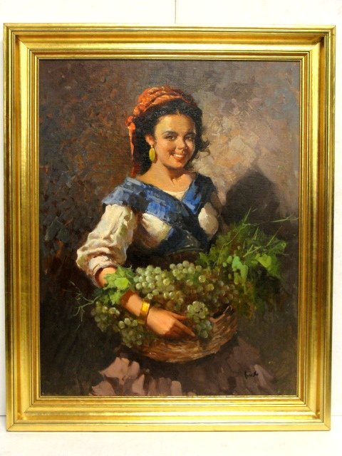 Oil On Board Woman With Basket Of Grapes