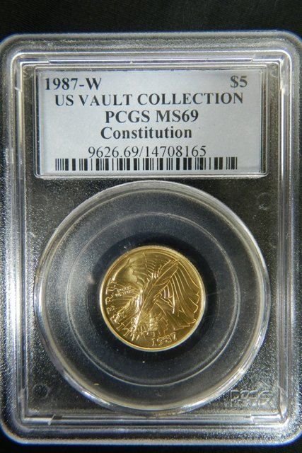 1987-W U.S. Vault Collection $5 Gold Graded MS69