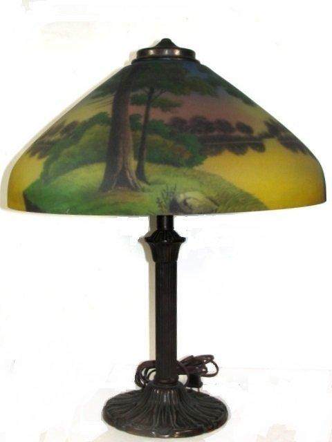 Reverse Hand Painted Scenic Lamp Circa-1920's