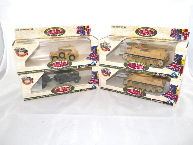 4-Solido Battle Military Diecast Vehicles w/Boxes