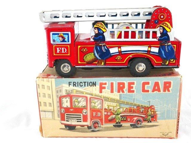 Japan Tin Friction Fire Car w/Box
