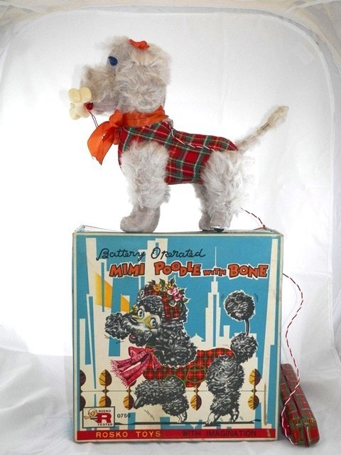 Rosko Battery Operated Mimi Poodle with Bone w/Box