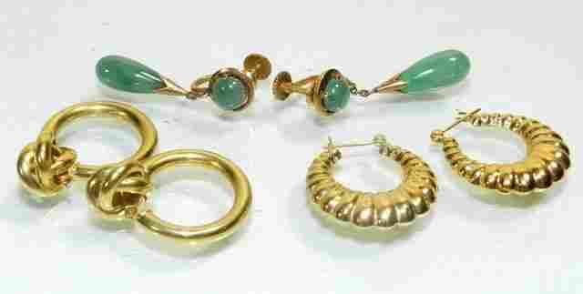 Three 14k Gold Earring Sets Vintage Jade