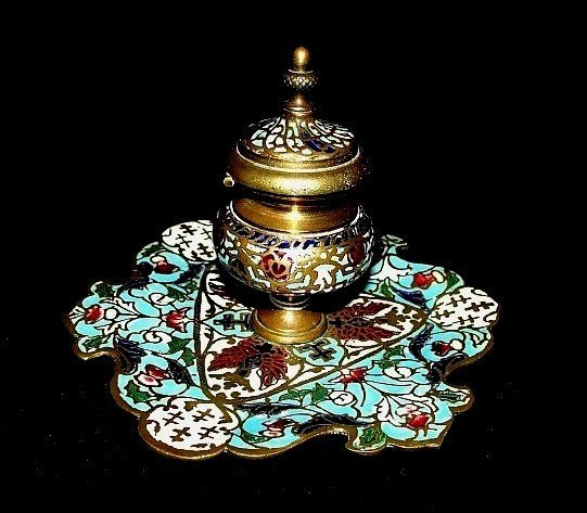 Antique French Champleve Enamel Inkwell