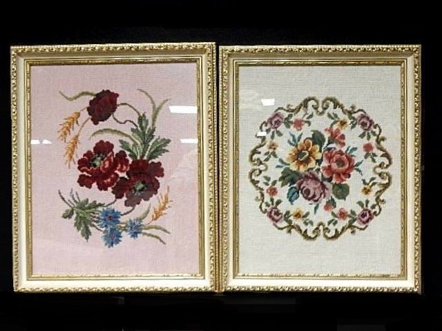 Two Framed Needlepoint's Of Flowers