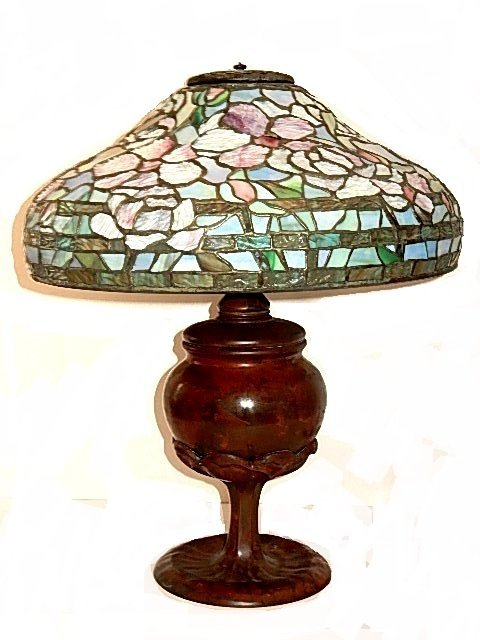Signed Art Glass Studios Leaded Glass Lamp