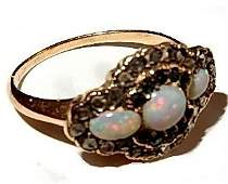 Vintage 14k Opal Diamond  Tourmalines Ring