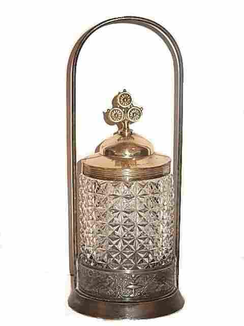 Victorian Silver-plate Pattern Glass Pickle Castor