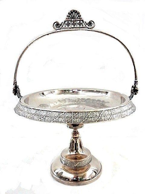 Victorian Derby Co. Silver-Plate Brides Basket