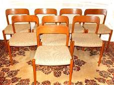 AS Skovby Set Of 8 Danish Modern Chairs