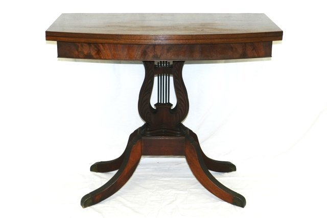 Swivel Game Table Double Harp Pedestal Base