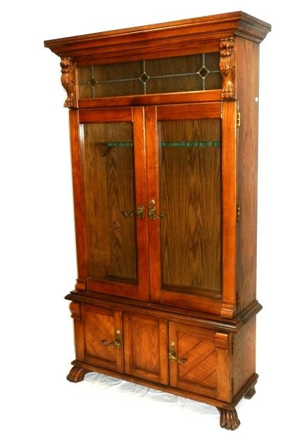 Carved Oak Lion Head Claw Foot Gun Cabinet 20th. C. - 3