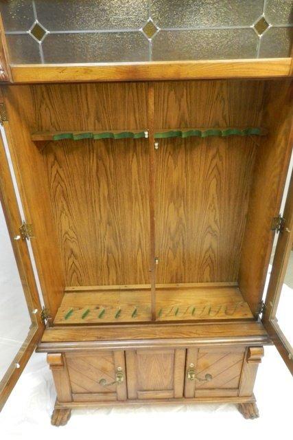 Carved Oak Lion Head Claw Foot Gun Cabinet 20th. C. - 7