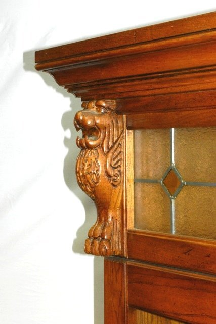 Carved Oak Lion Head Claw Foot Gun Cabinet 20th. C. - 9