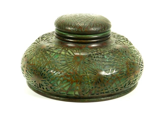 Tiffany Studios Bronze and Pine Needle Inkwell
