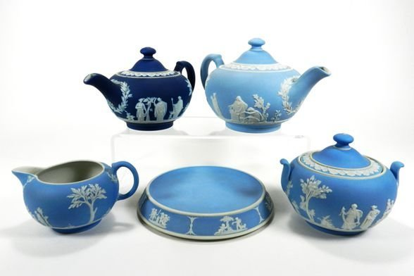 Wedgwood Early Jasperware Tea Set Pieces (5)
