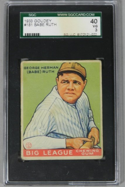 1933 Goudey Babe Ruth Graded SGC 40