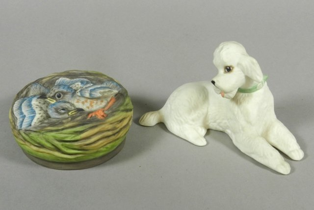 Boehm Poodle and 'Baby Buntings' Porcelain Figure