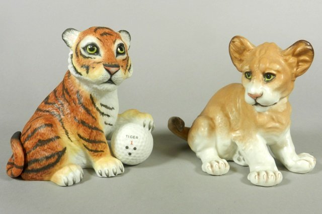 Boehm Lion and 'Tiger on the 18th Hole' Porcelain